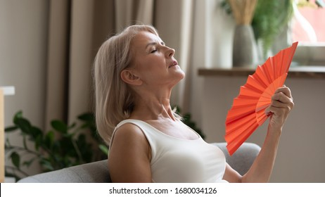 Side view head shot sweaty older lady using paper waving fan, suffering from high temperature inside. Unhappy mature woman feeling unwell, cooling herself at home with no air conditioning system.