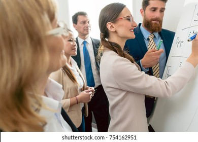 Side view of an intelligent female business expert conducting a SWOT analysis during an interactive meeting between the decision makers of a successful company