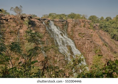 Side view landscape Picture of cascade Tirathgarh Waterfall in Bastar district India.