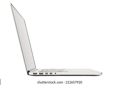 Side View of Laptop, Isolated on White Background