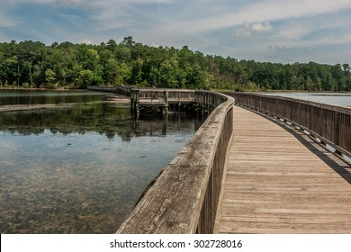 Side view of long bridge over river and into forest in Newport News Park, Newport News, Virginia.