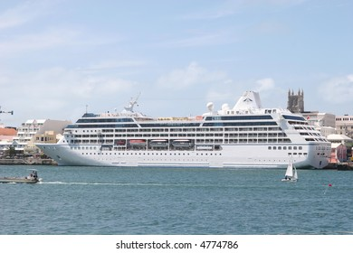 Side view of a luxury cruise ship at dock