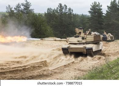 A side view of a M1 Abrams main battle tank