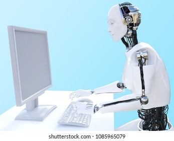 Side view of a male robot sitting and working with a computer, 3D rendering. Bluish background.