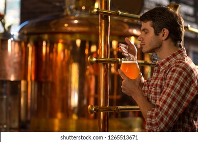 Side view of  man standing, holding glass in hand and smelling delicious beer. Customer of brewery checking quality of beer. Handsome man wearing in checked shirt posing with closed eyes.