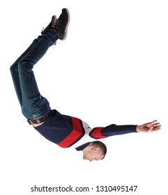 Side view of man in zero gravity or a fall. guy is flying, falling or floating in the air. Side view people collection.  side view of person.  Isolated over white background. guy in jeans falls down.