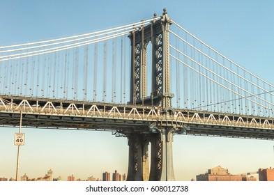 Side view of Manhattan Bridge, New York City.
