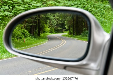 Side view mirror reflection of two-lane winding road in forest