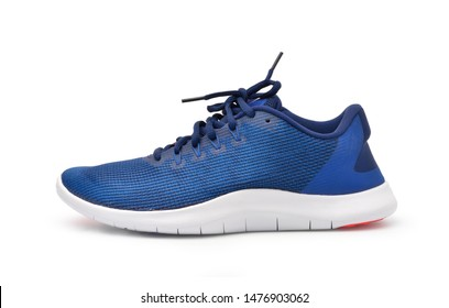 Side view of Modern athletic shoes isolated on white background, Clipping path.