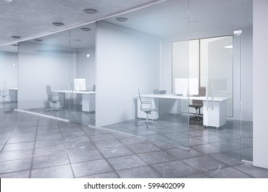 Side view of modern concrete office interior. 3D Rendering