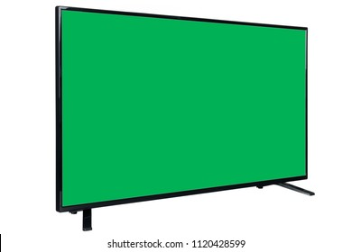 Side view of modern high definition flat TV LCD monitor with blank green chromakey screen, isolated on abstract blurred white background. Detailed closeup studio shot