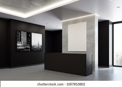 Side view of modern office interior with reception desk, city view and blank poster. Mock up, 3D Rendering