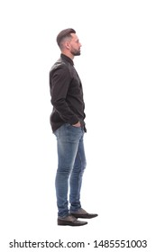 side view. modern young man in jeans