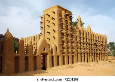 A side view of a mud mosque in a Dogon village in Mali