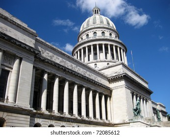 Side view of National Cuban Capitolio in Havana Cuba