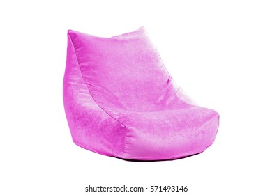 Side view of nice new and soft magenta beanbag isolated on white background