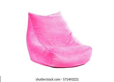 Side view of nice new and soft pink beanbag isolated on white background