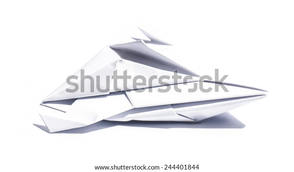 Side View Nice Origami Spaceship Isolated Stock Photo (Edit Now