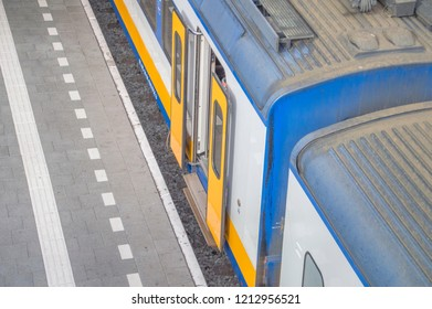 Side View Of A NS Train At Den Haag The Netherlands 2018