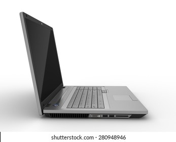 Side view off of a laptop isolated on white background