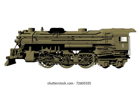 Side view of an old steel locomotive or lead train model, isolated against a white background.