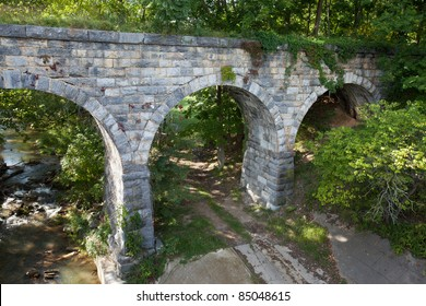 Side view of old stone bridge built in 1874