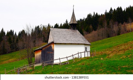 Side view of the oldest alp chapel in Canton Lucerne, Switzerland, on Alp Brüedere in the Entlebuch UNESCO Biosphere Reserve