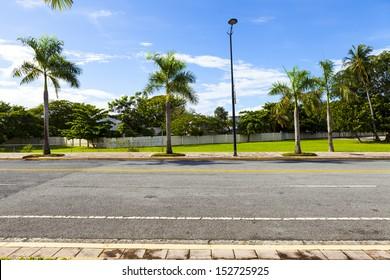 Side View On Asphalt Street