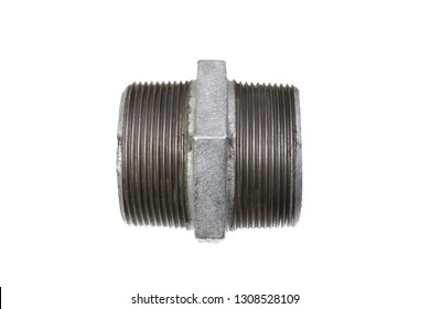 Side view on coupling nut of two inches diameter isolated on white background