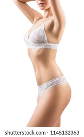 Side view on woman's slim body in lace lingerie. Isolated on white background.