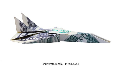 Side View of a One Doller Bill Paper Airplane Isolated on a White Background.