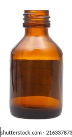side view of open brown glass oval pharmacy bottle isolated on white background