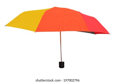 side view of open multicolored umbrella isolated on white background