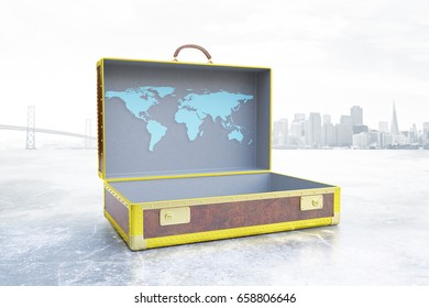 Side view of open suitcase with drawn map on city background. Business trip concept, 3D Rendering