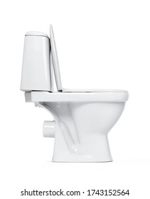 Side view open toilet bowl, isolated on white background. File contains a path to isolation.