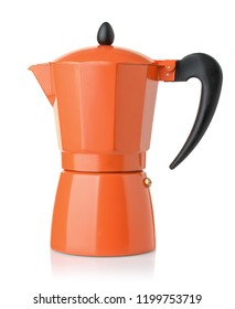 Side view of orange stovetop espresso coffee  maker isolated