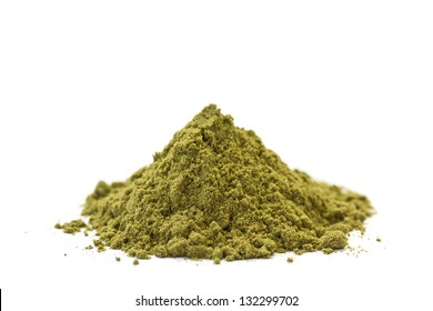 Side view of organic raw hemp protein powder. Isolated on white.