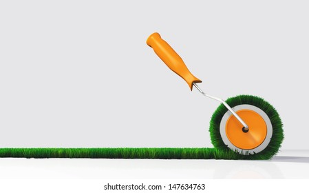 a side view of a paint roller with an orange handle, that is painting a grassy strip on a white ground using lawn as color