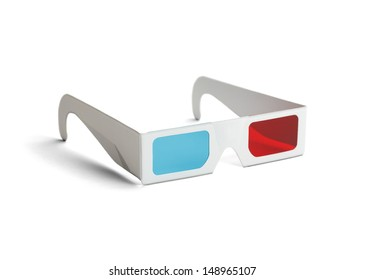 Side view of a pair of 3D glasses Isolated on white   background.