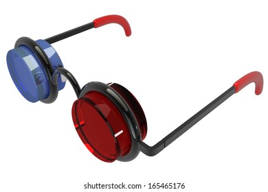 Side view of a pair of 3D glasses. Isolated on white background. 3d