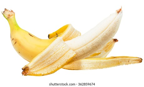 side view of peeled yellow banana isolated on white background