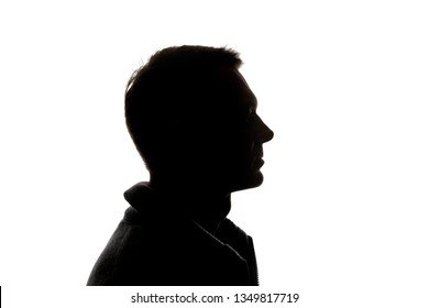 Side view of pensive man isolated on white