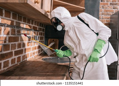 side view of pest control worker spraying pesticides on shelves in kitchen