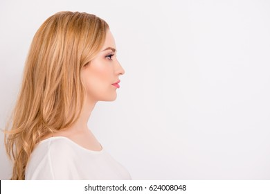 Side view photo of charming minded young woman dressed in formal clothing isolated on white background