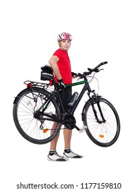 Side view picture of a standing cyclist holding his bicycle in hands