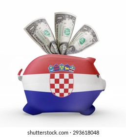 Side view of a piggy bank with the flag design of Croatia.(series)