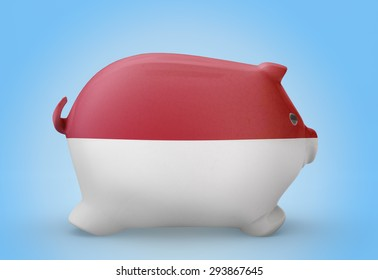 Side view of a piggy bank with the flag design of Indonesia.(series)
