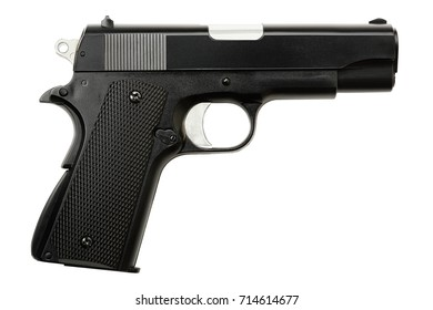 side view of plastic gun isolated on white