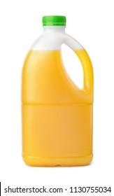 Side view of plastic orange juice bottle isolated on white