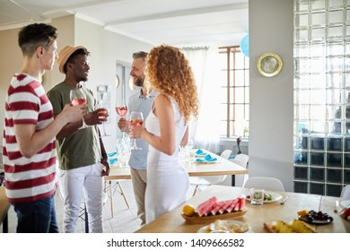 Side view portrait of guests mingling and chatting while standing in festive dining room set for party, copy space